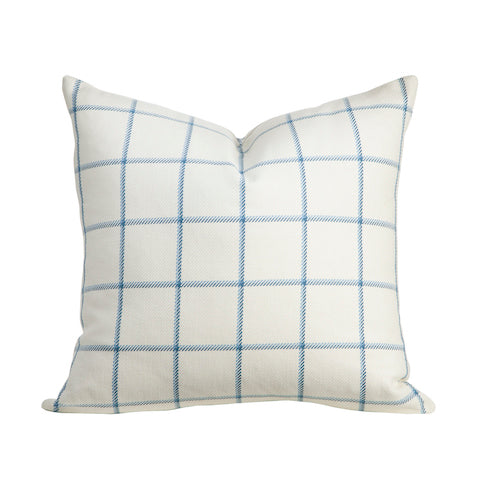 Decorative Cotton Throw Pillow in Blue and White Windowpane Plaid