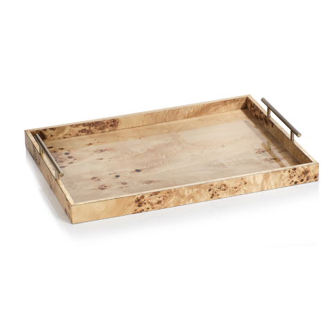 Burl Tray with Gold Leaf Trim
