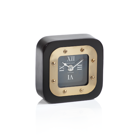Black with Brass Table Clock