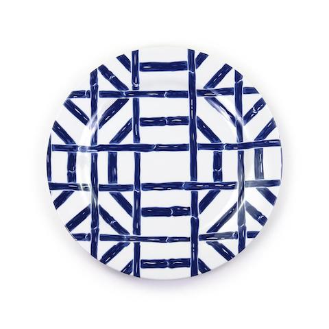 Navy Bamboo Melamine Luncheon Plate - Set of 4
