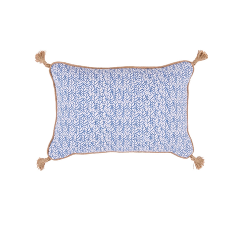 Wedgewood Blue Leaf Print Lumbar Pillow