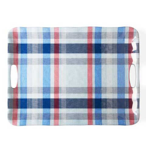 Plaid Melamine Tray with Handles