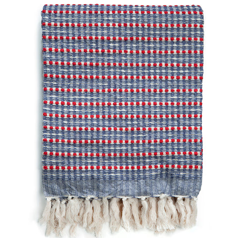 Cotton Seersucker Throw in Red & Blue