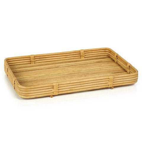 rectangle rattan serving tray in natural