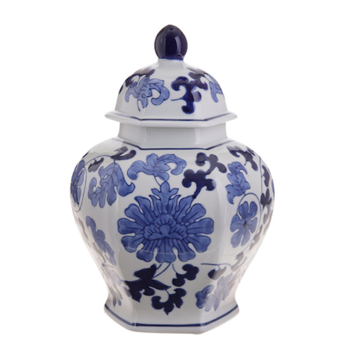 Blue & White Porcelain Jar with Lid