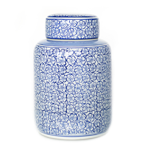 Blue and White Floral Ceramic Jar with Lid