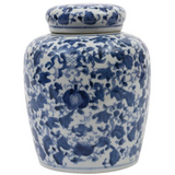 Blue & White Ceramic Ginger Jar with Lid