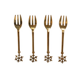 Brass Snowflake Appetizer Knives and Forks - Set/4