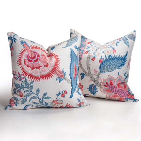 Rose and French Blue Floral Pillow