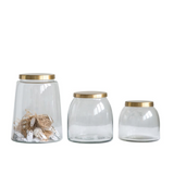 Brass-Topped Glass Jars - Set of 3