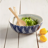 Indigo Stone Serving Bowl with salad and wooden serving utensils