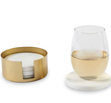 Marble Coaster with Brass Holder Set