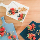 3 Mini Charcuterie boards in white, denim and navy with berries