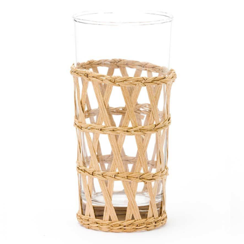 Raffia-Wrapped Iced Tea Glass in Natural