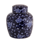 Navy Floral Jar with Lid