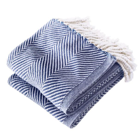Brahms Mount Monhegan Cotton Throw in Navy and White