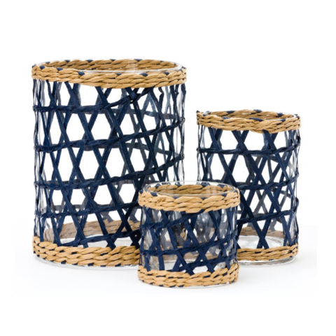 Navy raffia wrapped glass hurricanes in three sizes.  For flowers or pillar candles.