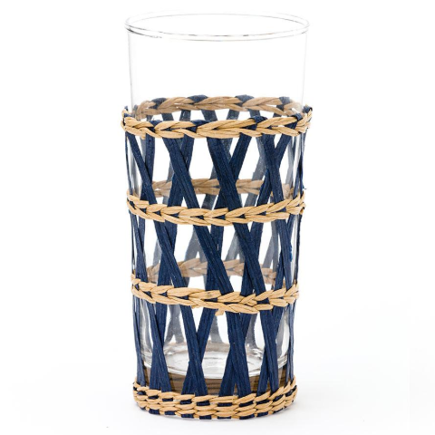 Raffia-Wrapped Iced Tea Glass in Navy
