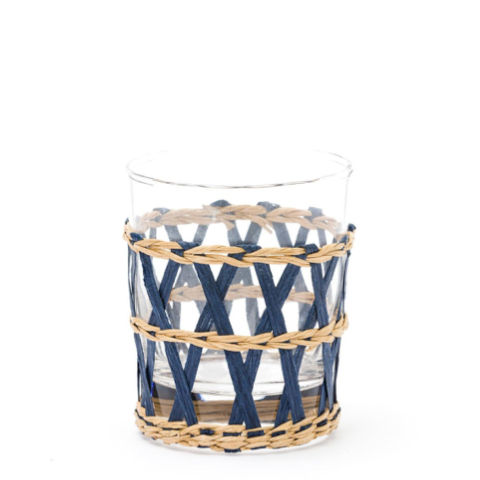 Raffia-Wrapped Tumbler in Navy