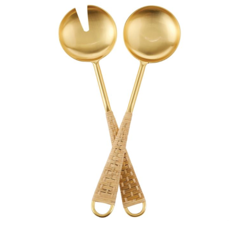 Gold Serving Utensils with Rattan-Wrapped Handles