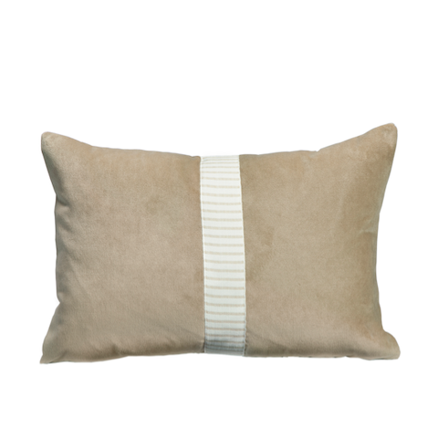 Barley Velvet Lumbar Pillow with Striped Tape