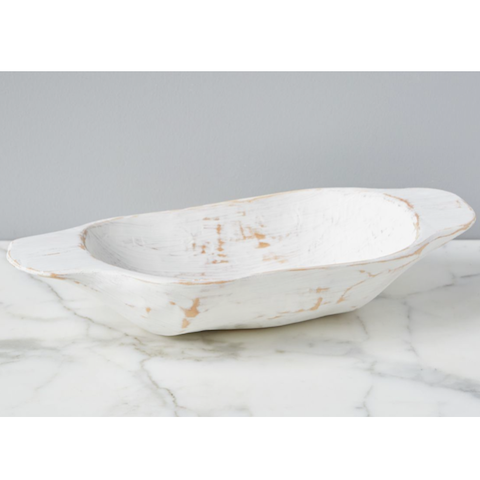 Vintage Distressed White Dough Bowl, Small