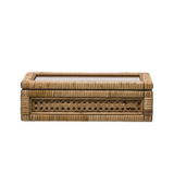 Woven Rattan & Wood Display Box with Glass Lid