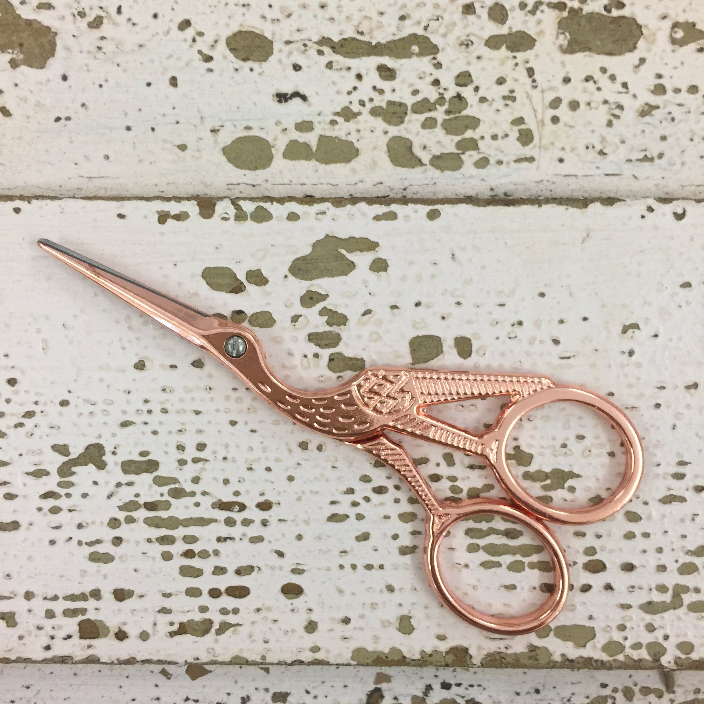 Rose Gold Stork Embroidery Scissors