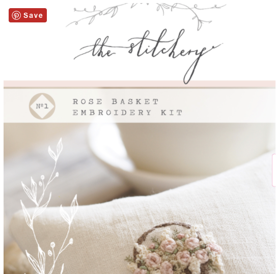 Rose Basket Embroidery Kit by The Stitchery