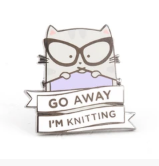 Go Away Im knitting Cat Pin