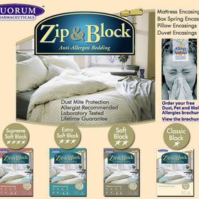 Zip and Block Anti-Allergen and Dust Mite Protective Bedding