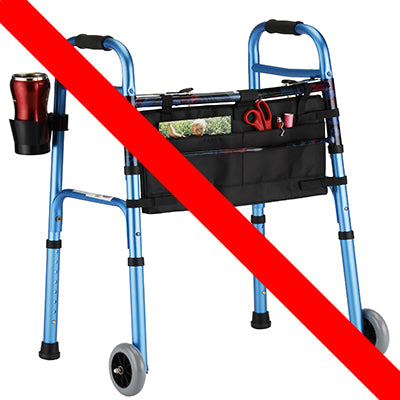 Folding Walker with 5 inch Wheels and Dual Button Release by Nova Medical
