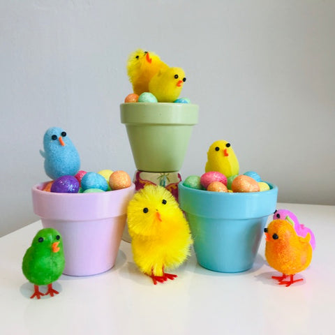 Easter chicks and mini pots
