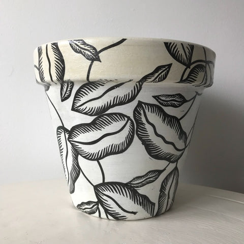 Banana Palm Leaf Large Plant Pot 21cm - Palm Pot & Peony