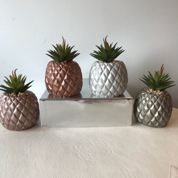 Silver Pineapple Faux Succulent Pot