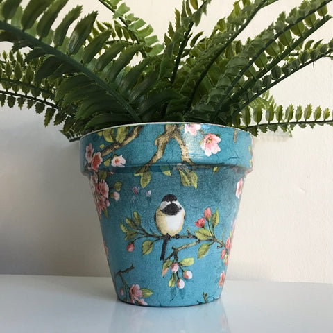 Blossom and Bird Design Flower Pot 13cm - Palm Pot & Peony