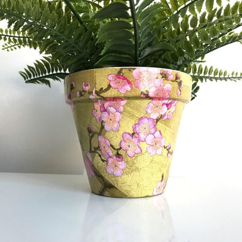 Blossom Gold and Pink Flower Pot 13cm - Palm Pot & Peony