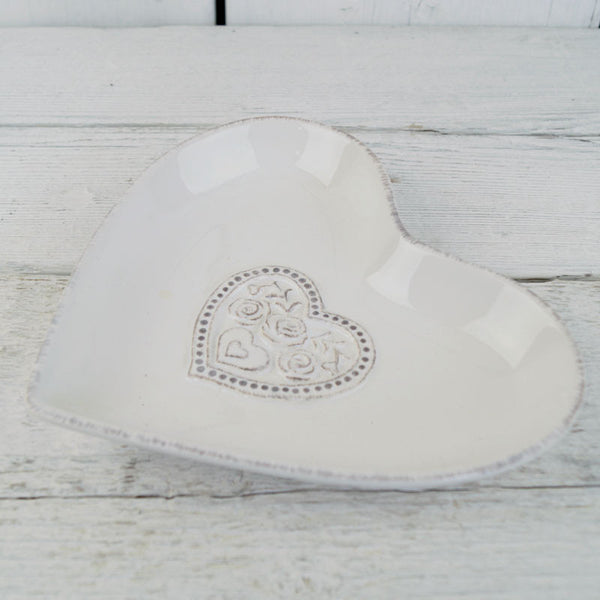 White Ceramic Floral Heart Shaped White Dish