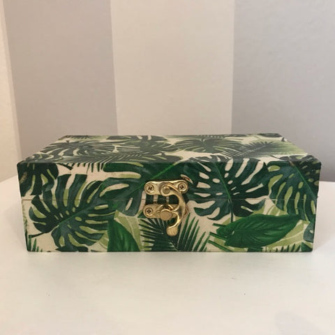 Green Palm Leaves Wooden Keepsake Box