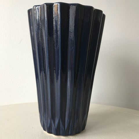 Blue Geo Sculpted Design Ceramic Vase - Palm Pot & Peony
