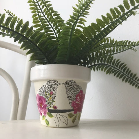 Love Birds and Roses Plant Pot 15cm - Palm Pot & Peony