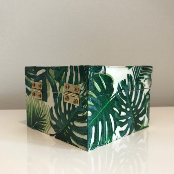 Green Palm Leaves Design Wooden Keepsake Box - Palm Pot & Peony