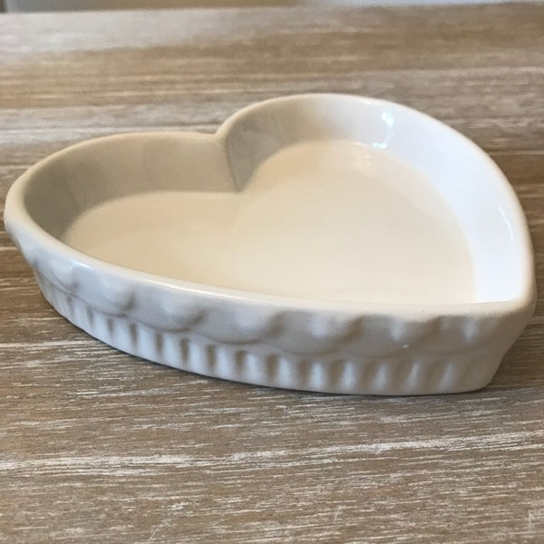 White Ceramic Heart Plate Dish