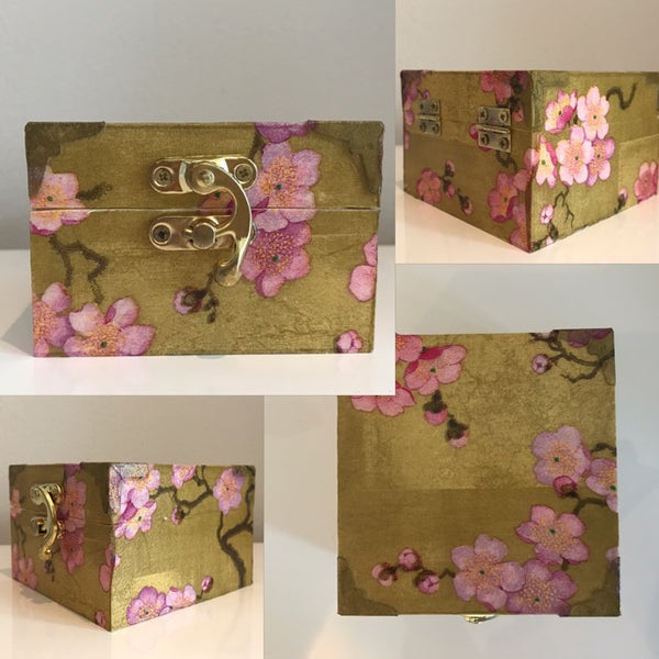 Blossom Gold & Pink Wooden Keepsake Box