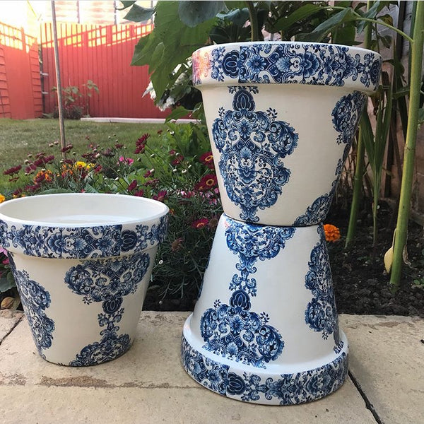 Blue & White Damask Large Plant Pot