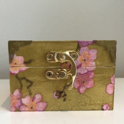 Blossom Gold and Pink Wooden Keepsake Box - Palm Pot & Peony