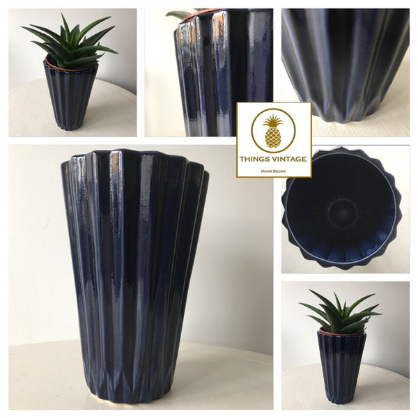 Blue Geo Sculpted Design Ceramic Vase