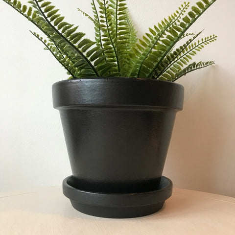 Black Classic Large Planter Plant Pot & Saucer 21cm - Palm Pot & Peony