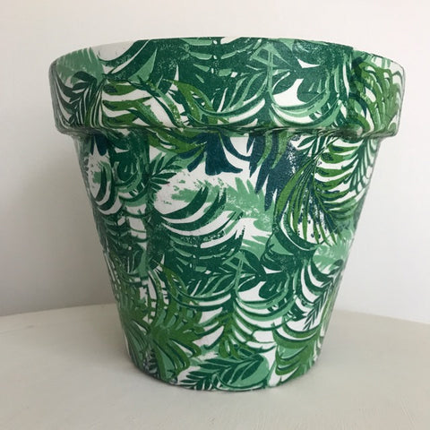 Tropical Palm Leaf Large Plant Pot 21cm - Palm Pot & Peony