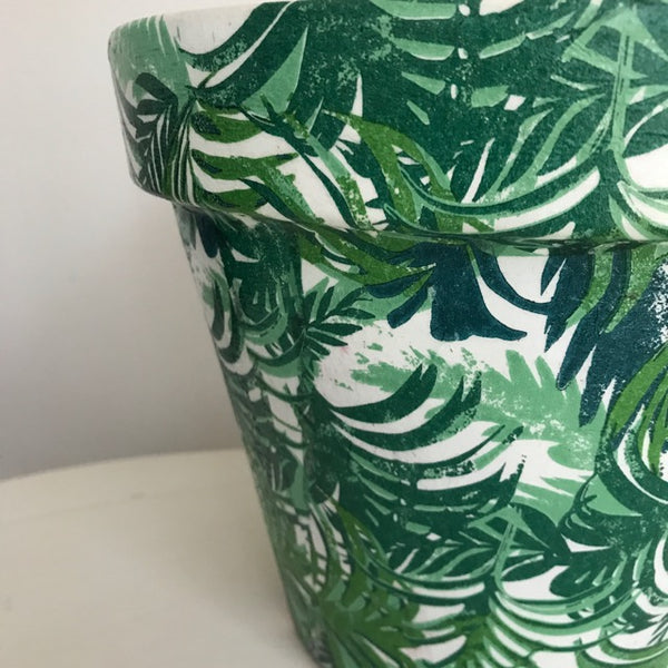 Tropical Palm Leaf Large Plant Pot